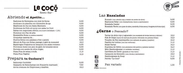A Restaurante Le Coco Madrid Tenemosqueir Carta