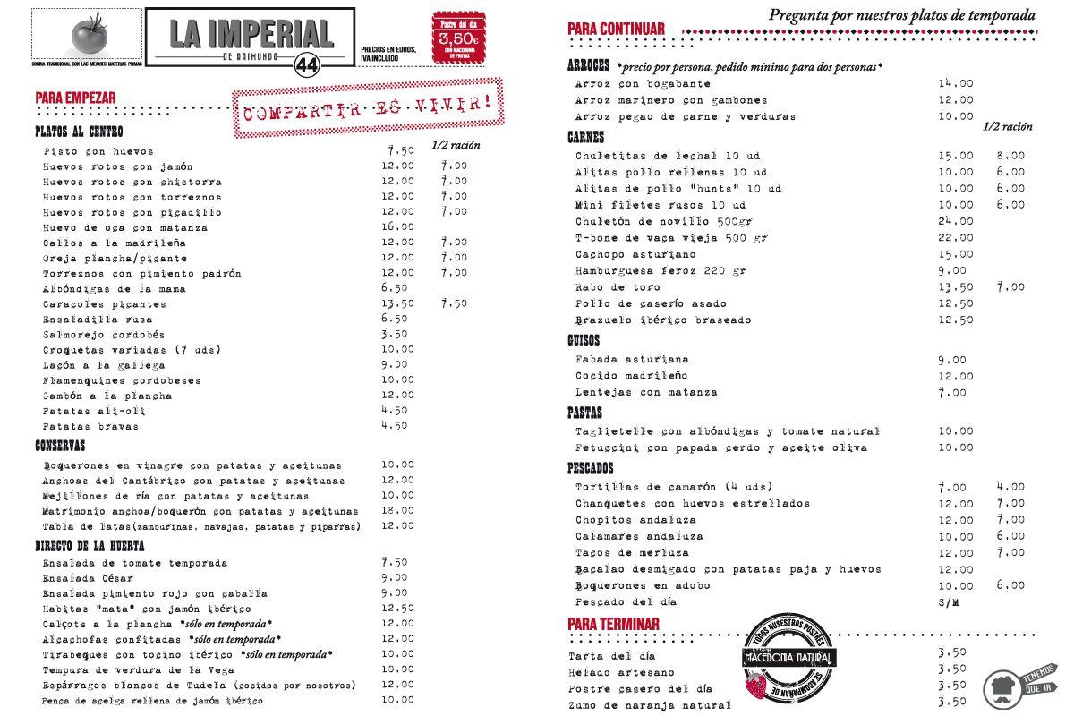 A La Imperial de Raimundo Tenemosqueir Restaurante Madrid Carta