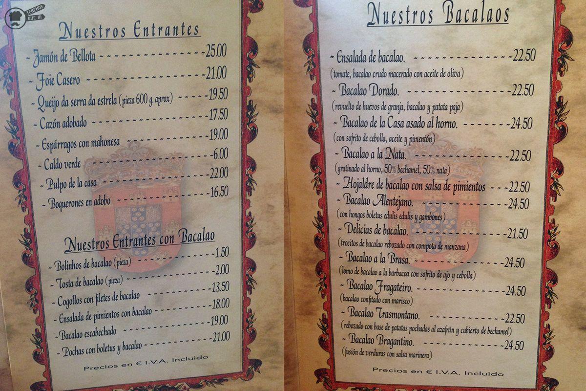 A Restaurante Tras Os Montes Tenemosqueir Carta Bacalao
