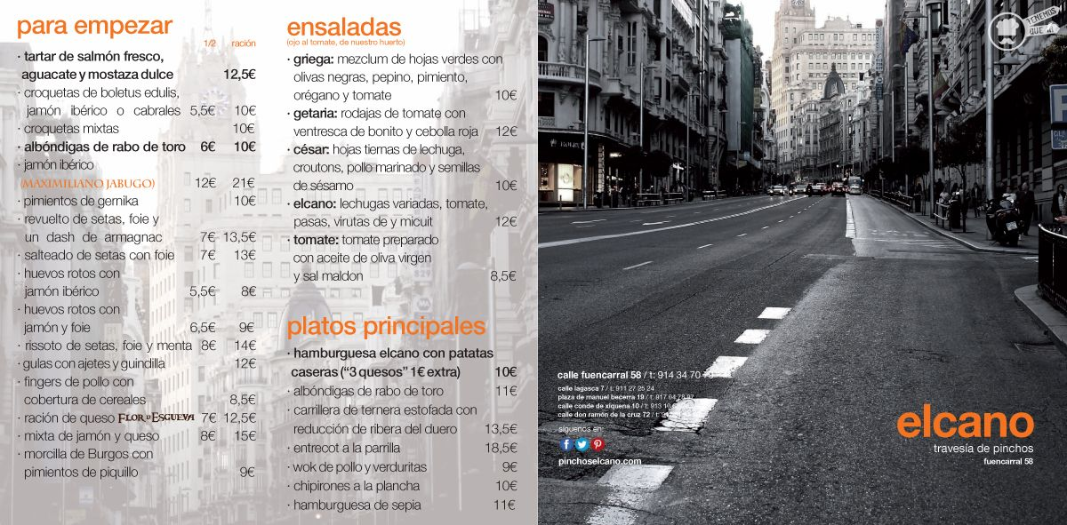 A Pinchos El Cano Tenemosqueir Madrid Carta