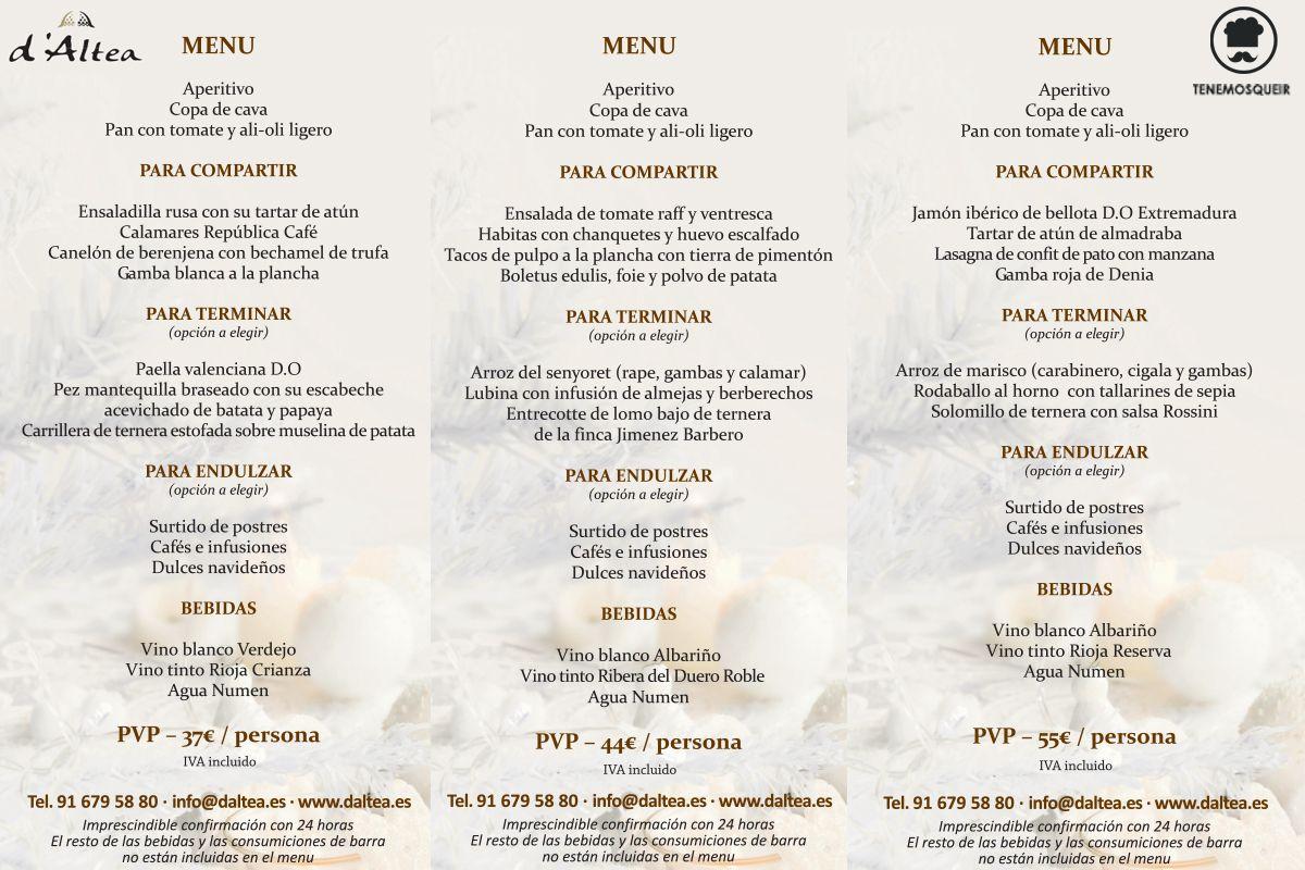 Menu Cena Navidad D Altea Restaurantes para Celebrar la Cena de ...