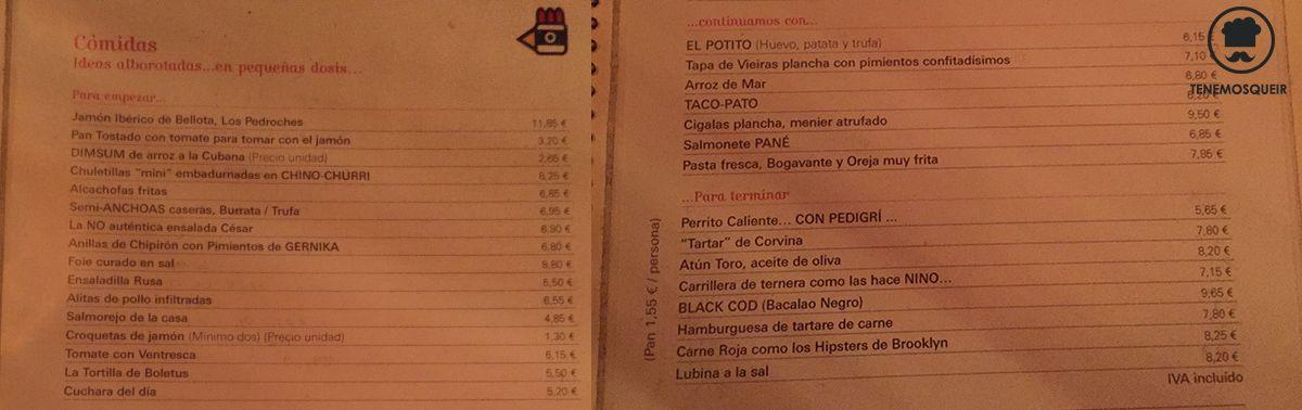 Carta La Gabinoteca Tenemosqueir Restaurante Madrid Gabinoteca