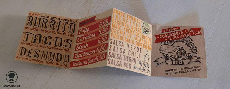 Carta Sagasta Tierra Burrito Bar Restaurante TexMex Madrid Tenemosqueir Sagasta
