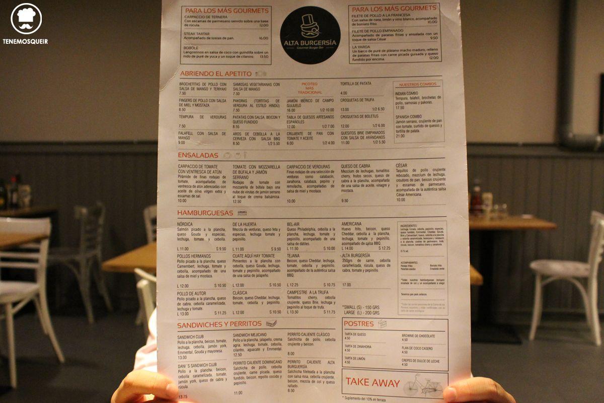 Carta Alta Burguesia Restaurante Hamburguesas Madrid