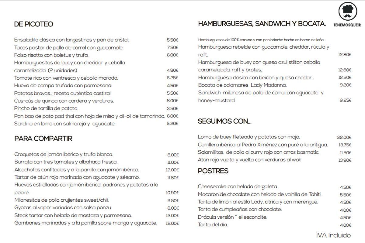 A Restaurante El Escondite de Villanueva Tenemosqueir Madrid Carta