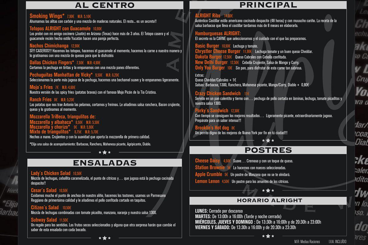 Carta Restaurante Americano Alright Madrid Tenemosqueir