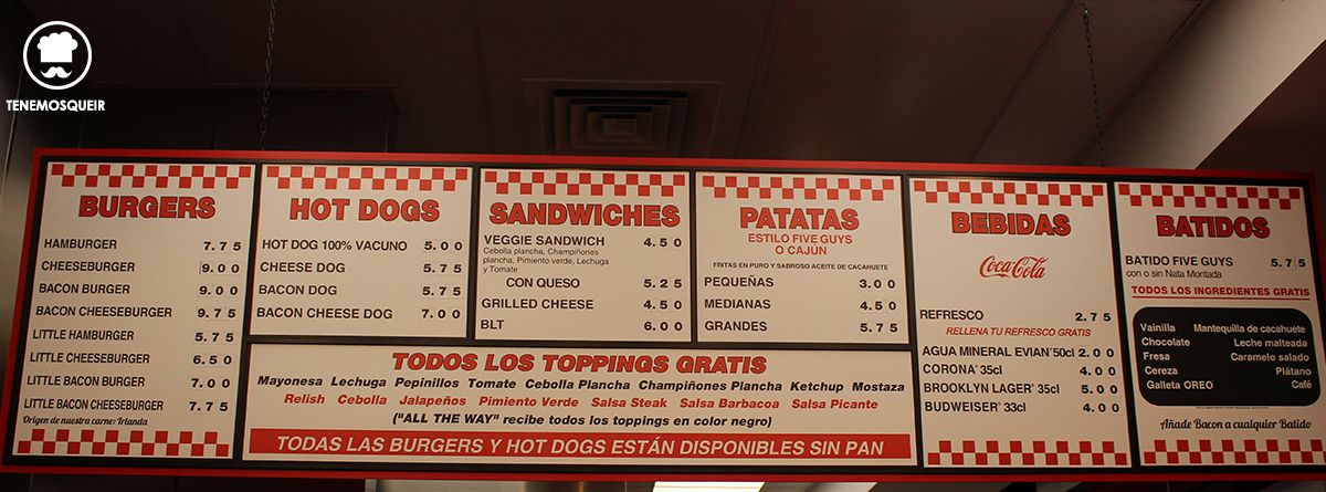 Carta Five Guys Gran Via Madrid Hamburgueseria Tenemosqueir