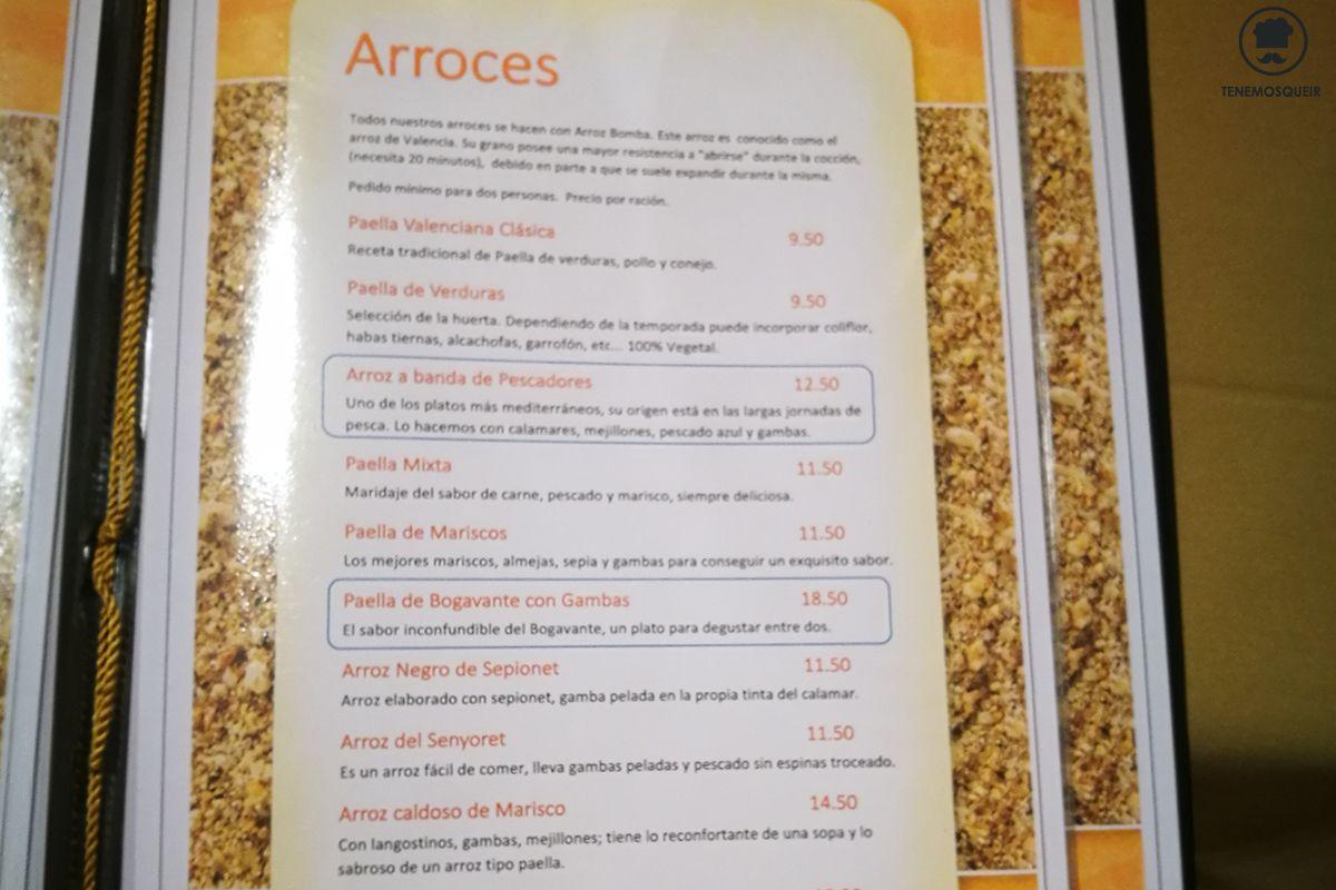 Carta Arroz de la Bahia Restaurante Madrid Tenemosqueir
