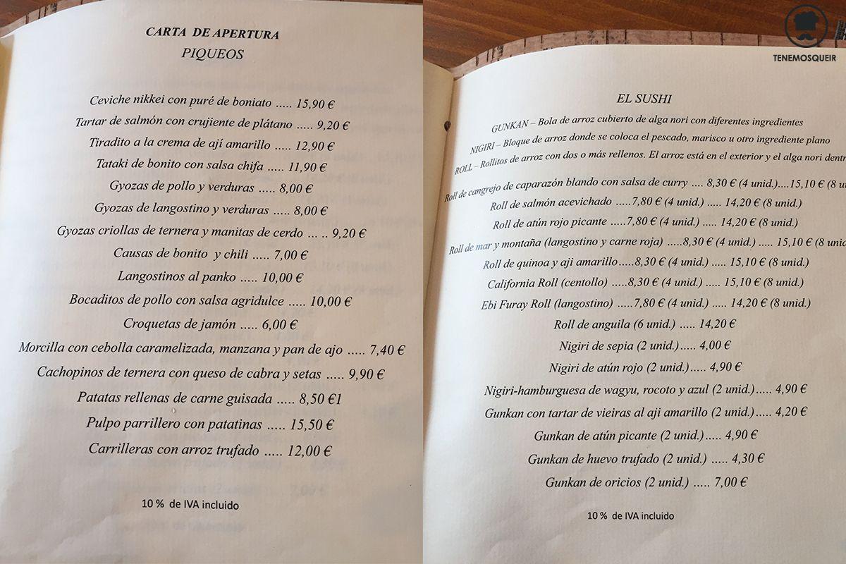 Carta Ronda 14 Restaurante Fusion Madrid Tenemosqueir