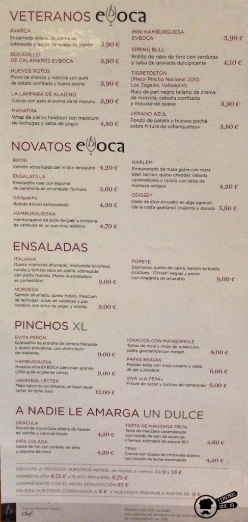 Carta Restaurante Evboca Madrid