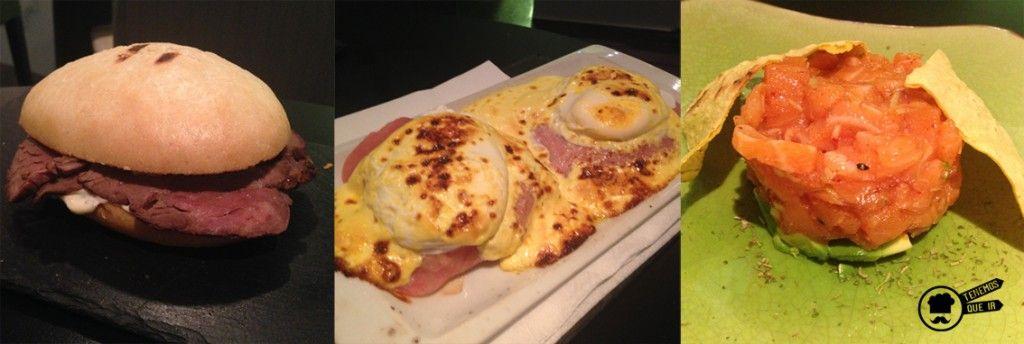 Mollete artesano de Roast beff en su jugo con mostaza y salsa tártara, Huevos benedict con salsa holandesa, Tartar de Salmon picante con aguacate. Restaurante Check In