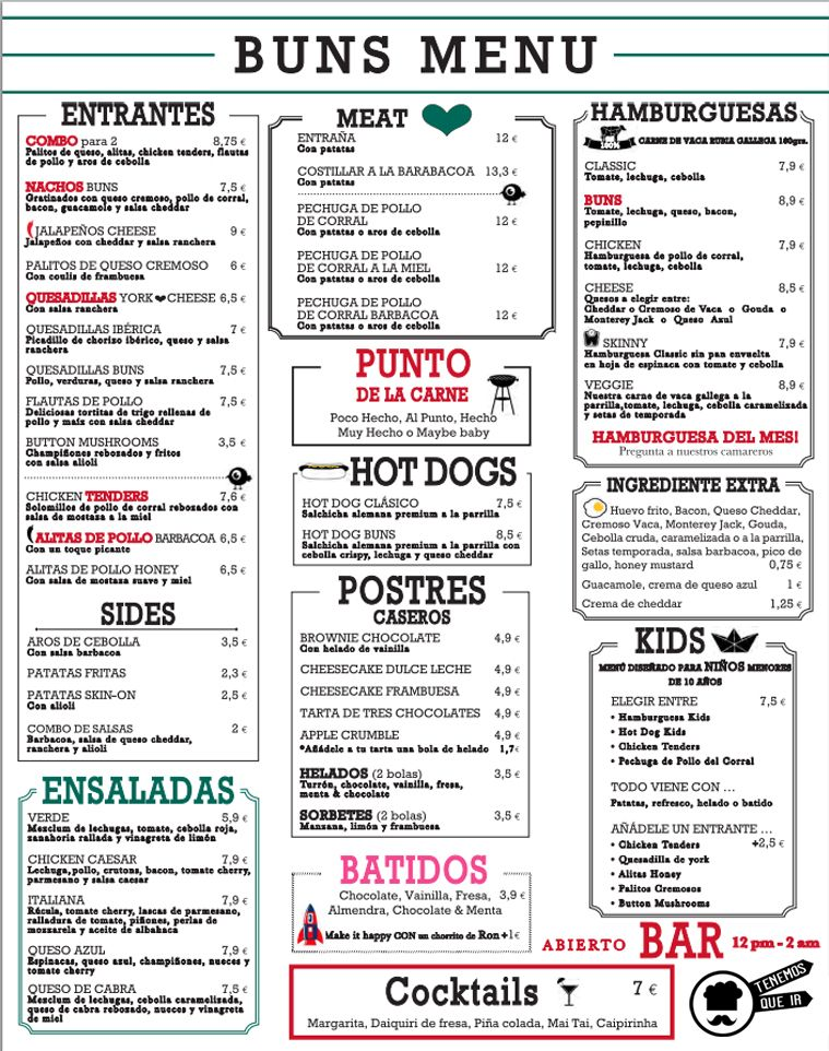 Carta,  Restaurante Buns Madrid