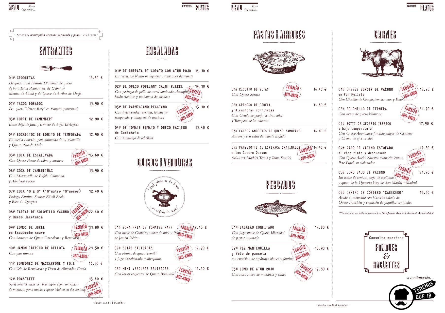Carta, Restaurante Poncelet Chesee Bar