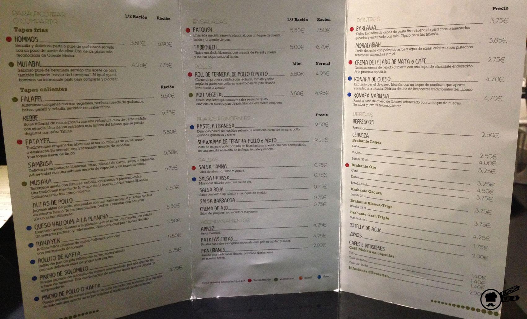 Carta Restaurante Shukran Madrid