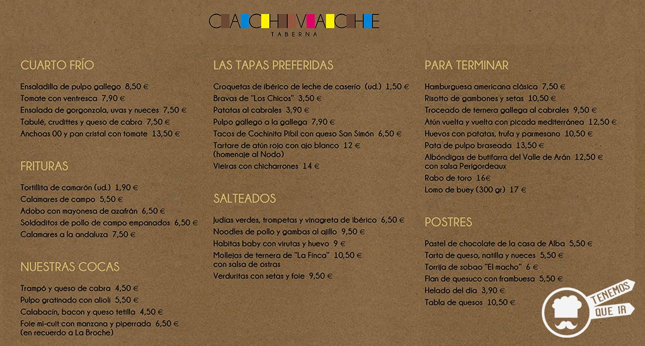 Carta Taberna Cachivache Madrid Tenemosqueir