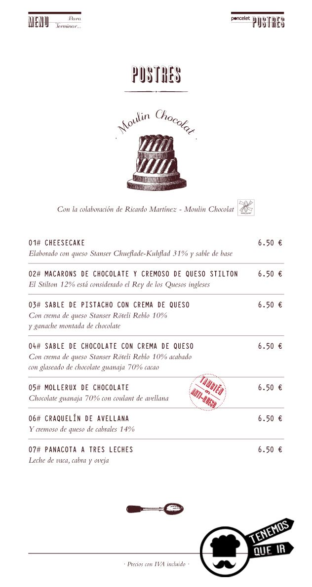 Carta de Postres, Restaurante Poncelet Chesee Bar