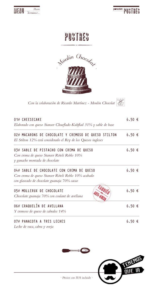 Carta de Postres, Restaurante Poncelet Chesee Bar