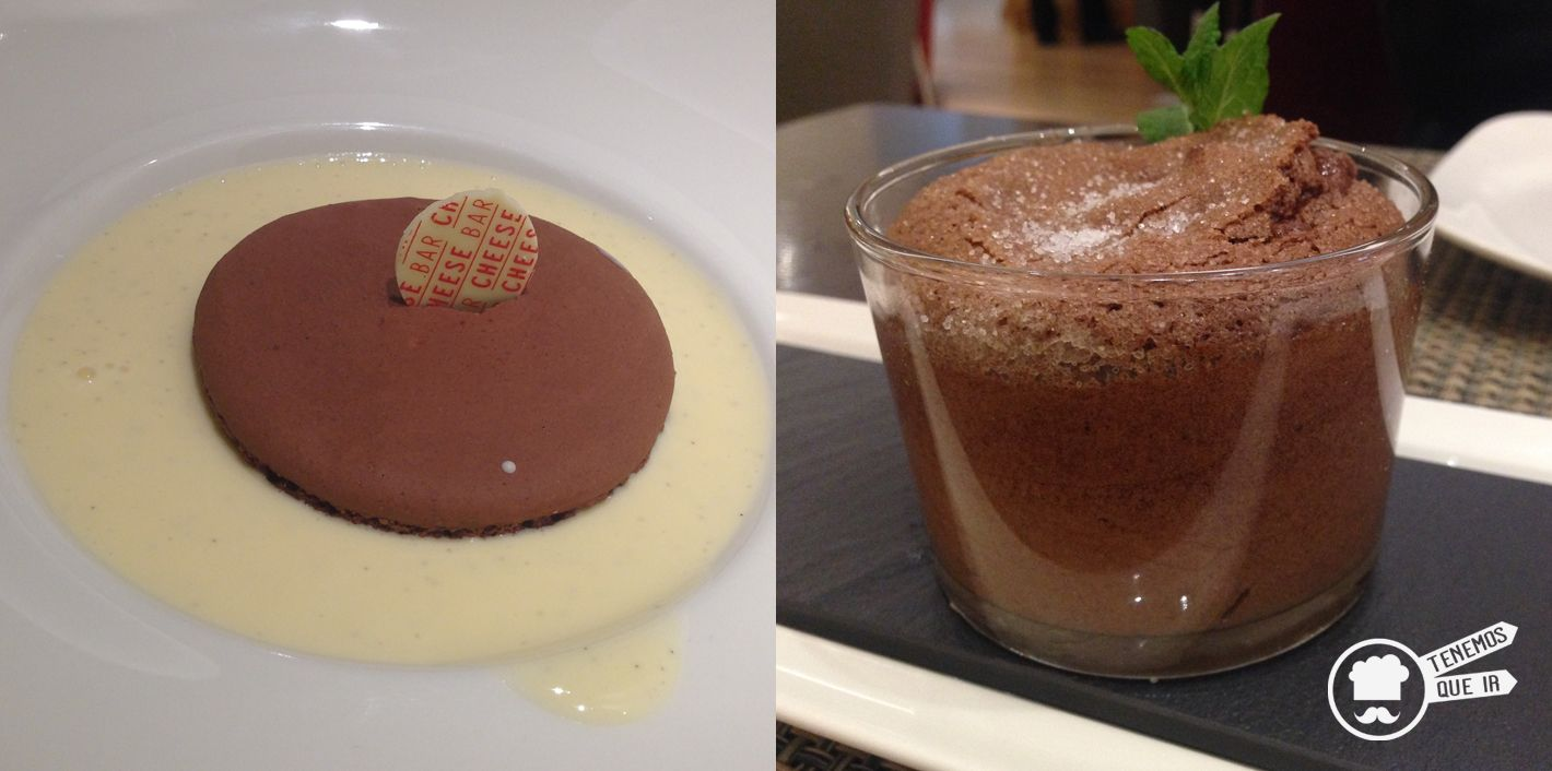 Macarons de Chocolate y Cremoso de Queso Stilton y Mollerux de Chocolate, Restaurante Poncelet Chesee Bar