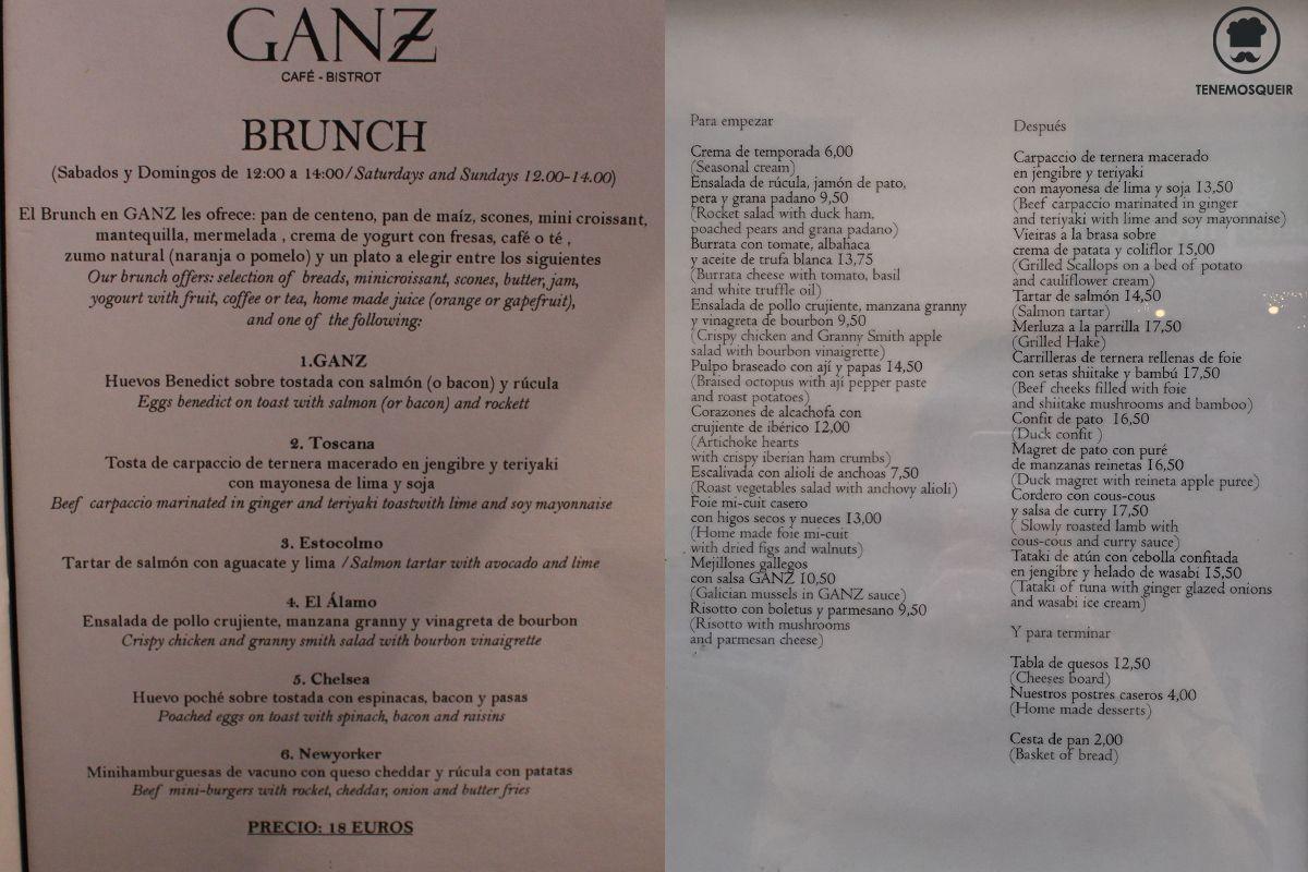 Carta Restaurante Ganz Madrid Tenemosqueir