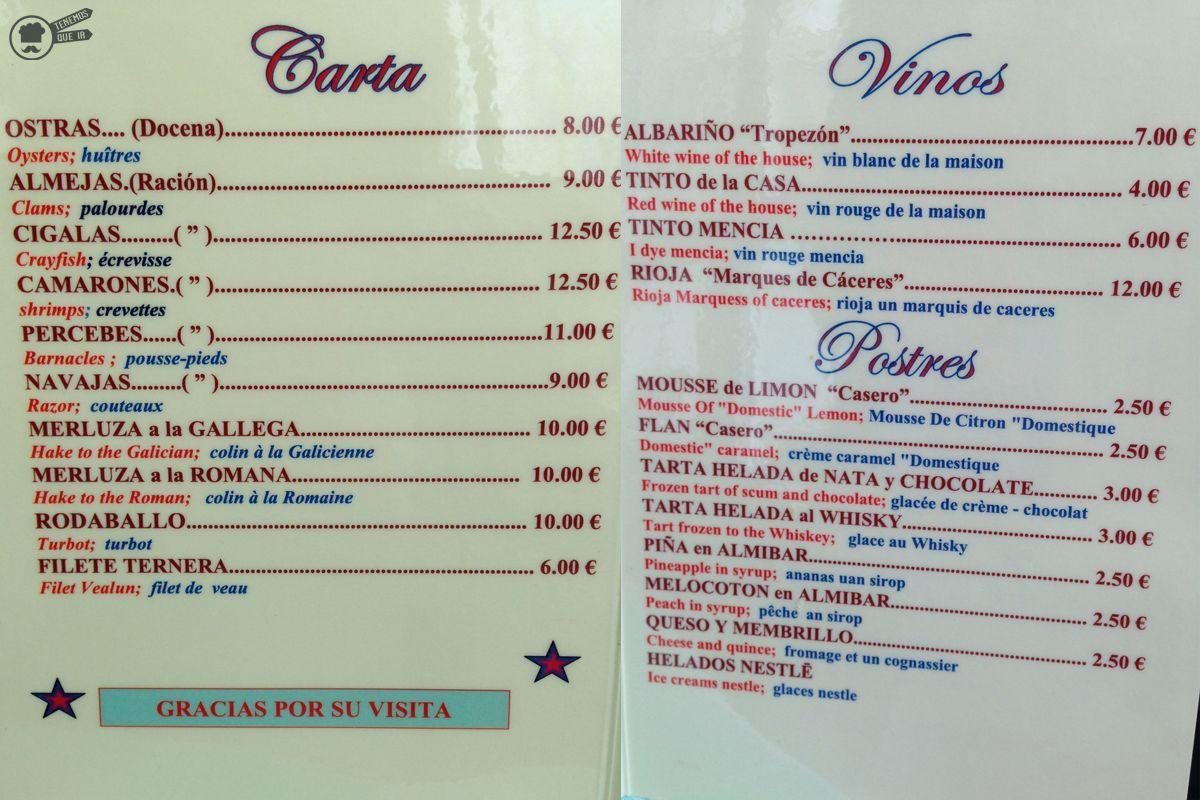 Carta BarTropezon Ruta Sanxenxo Galicia Tenemosqueir