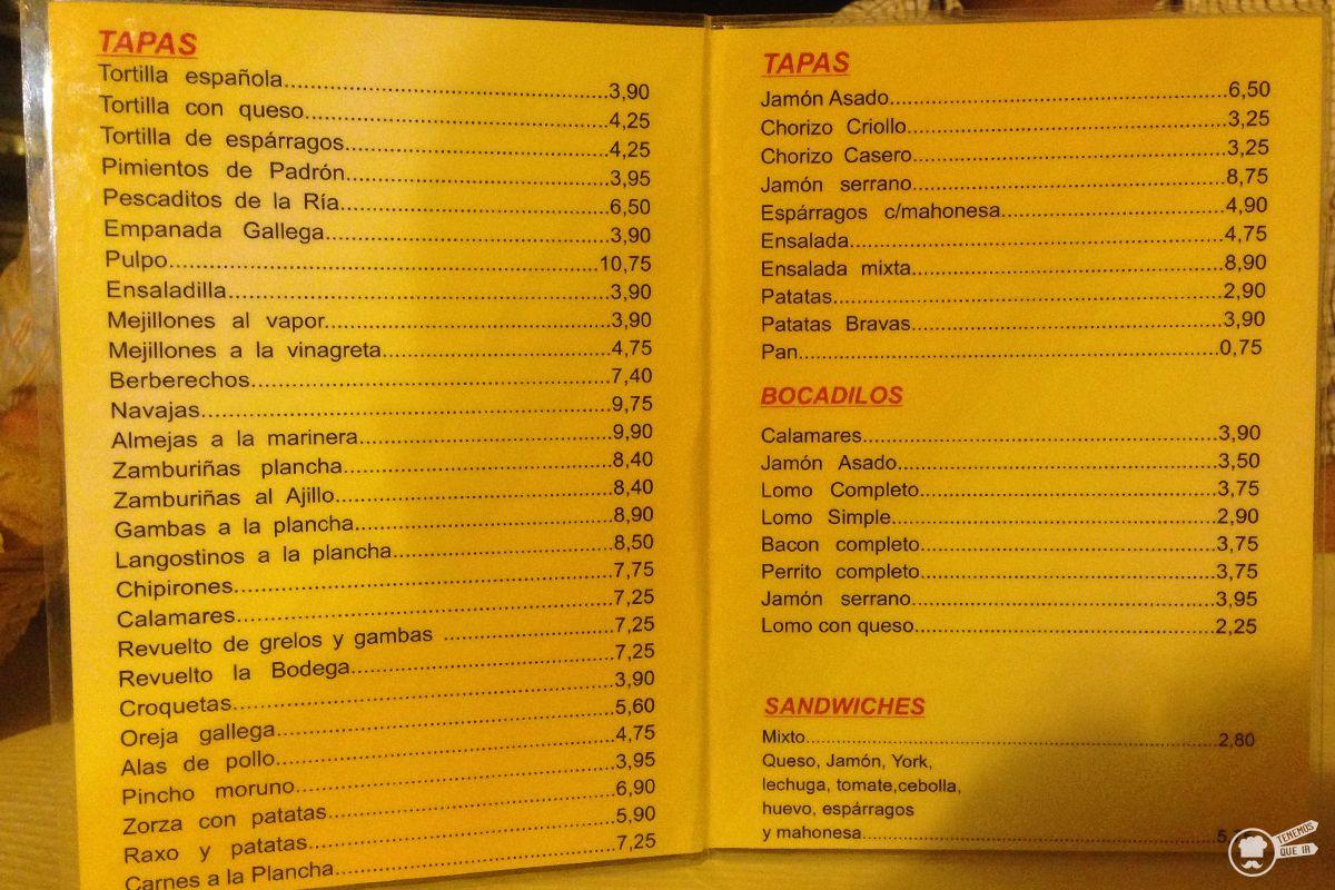 Carta La Bodega Ruta Sanxenxo Galicia Tenemosqueir