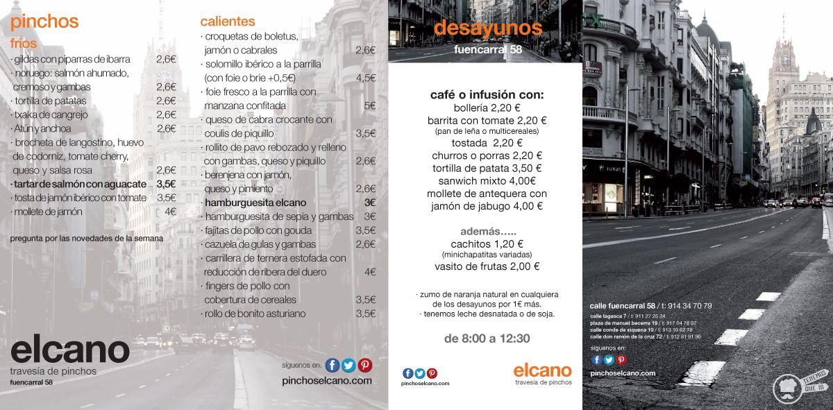 A Pinchos El Cano Tenemosqueir Madrid Carta Pinchos