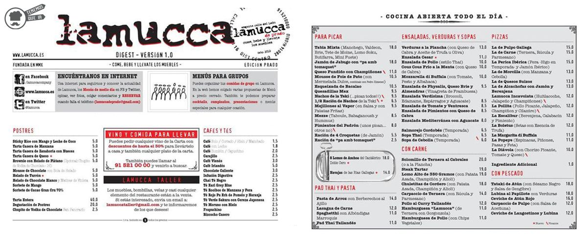 A Restaurante Lamucca Tenemosqueir Madrid Carta
