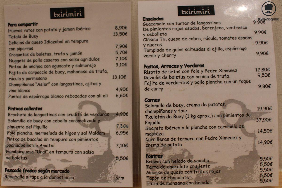 Al Restautante Txirimiri Madrid Tenemosqueir Carta