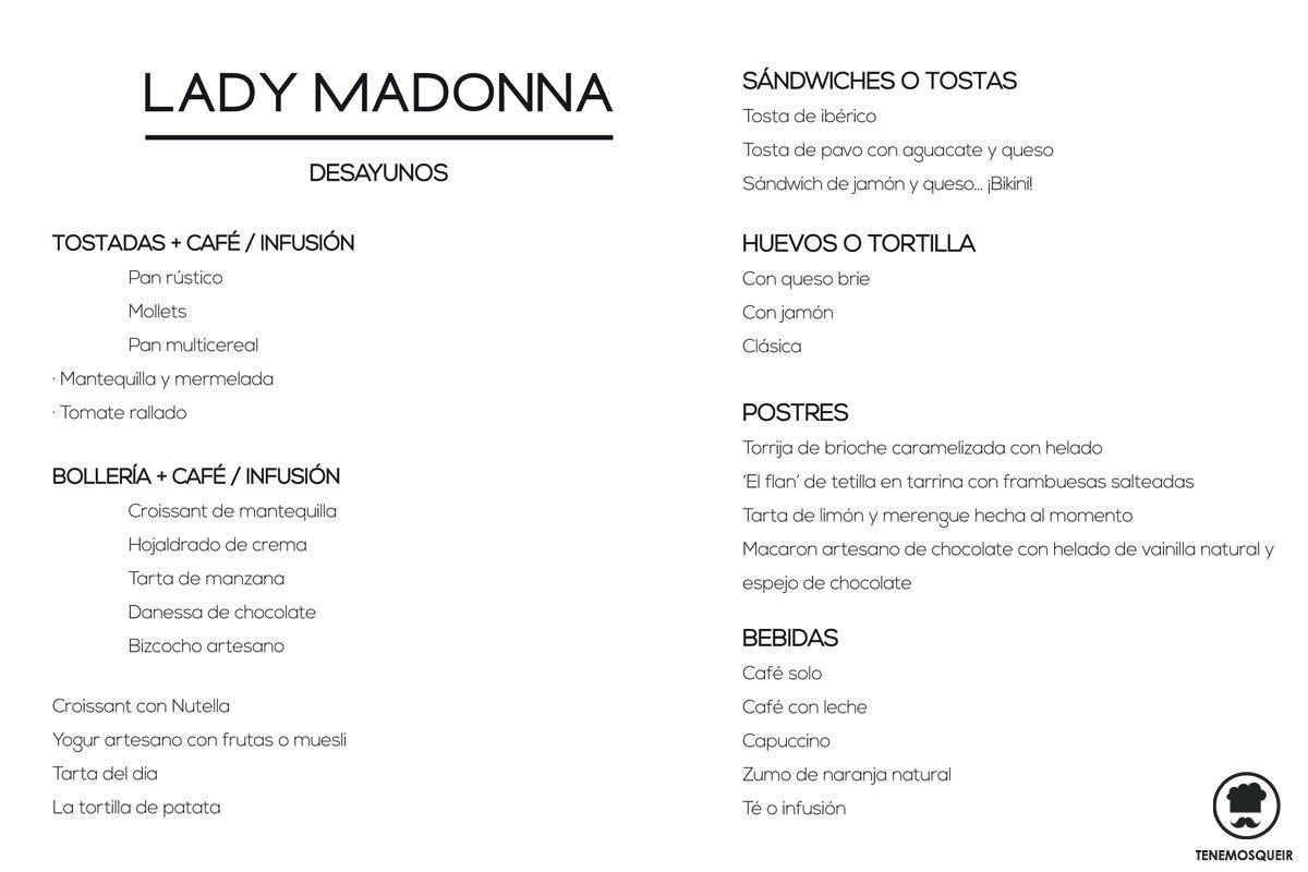 A Restaurante Lady Madonna Madrid Tenemos que ir Carta Desayunos