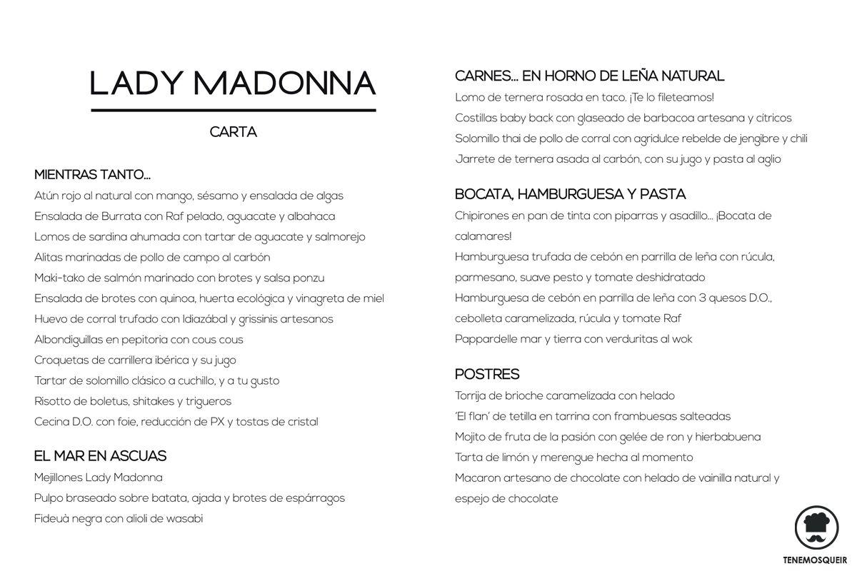 A Restaurante Lady Madonna Madrid Tenemos que ir Carta