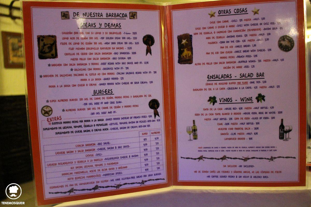 A Restaurante Alfredos Barbacoa Madrid Tenemos que ir Carta