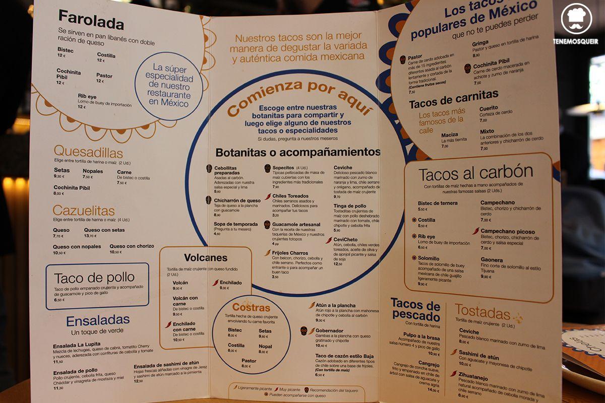 A Restaurante Mexicano Taqueria La Lupita Madrid Tenemosqueir Carta