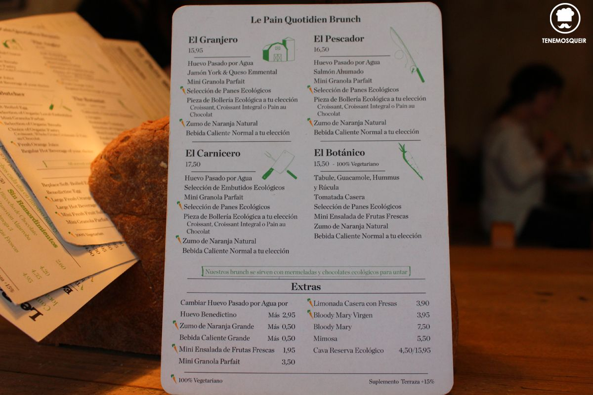 A la Panaderia Le Pain Quotidien Tenemosqueir Madrid Carte Brunch