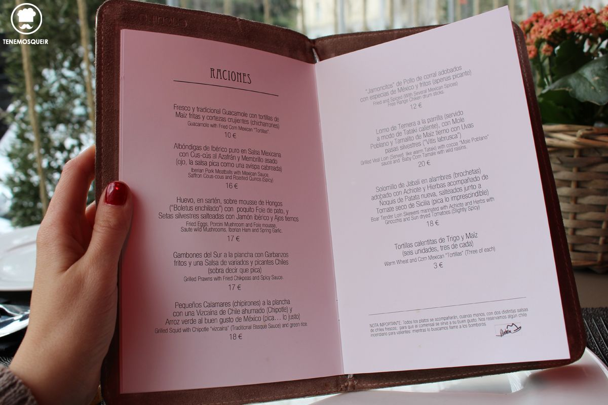 Carta B Comala Restaurante Fusion Madrid Tenemosqueir
