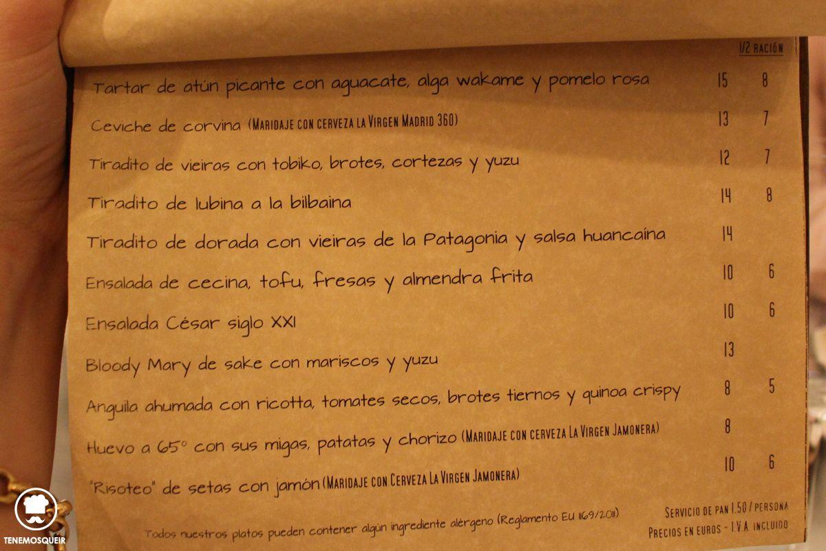 Carta Restaurante Bacira Madrid Tenemosqueir