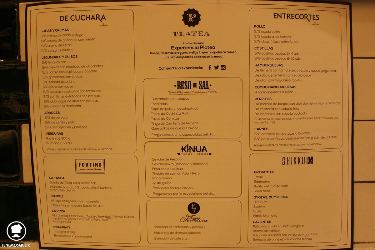 Foso Platea Carta Mercado Restaurante Madrid Tenemosqueir