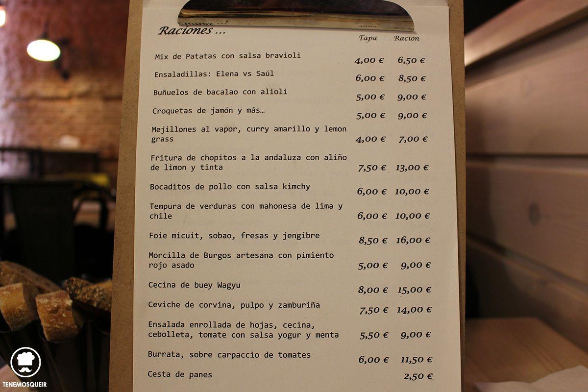 Carta a Restaurante TreZe Tenemosqueir Madrid