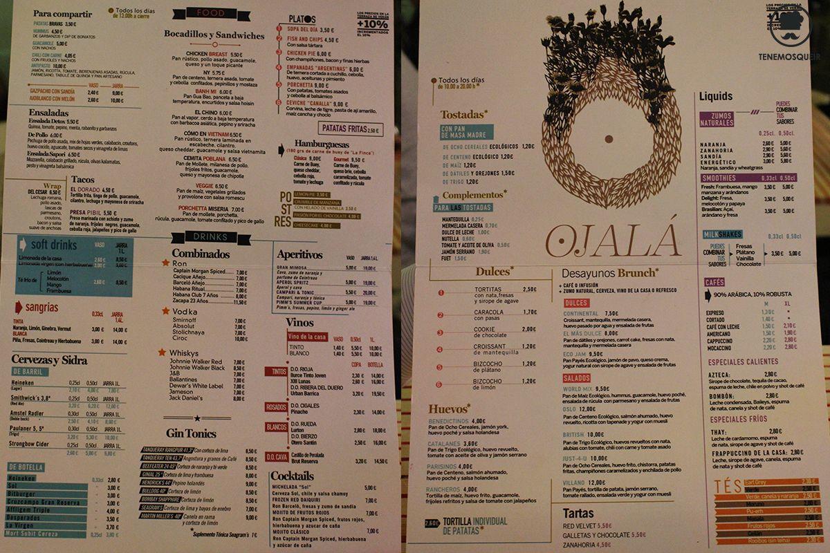 Carta Ojala Restaurante con Arena de Playa en Madrid