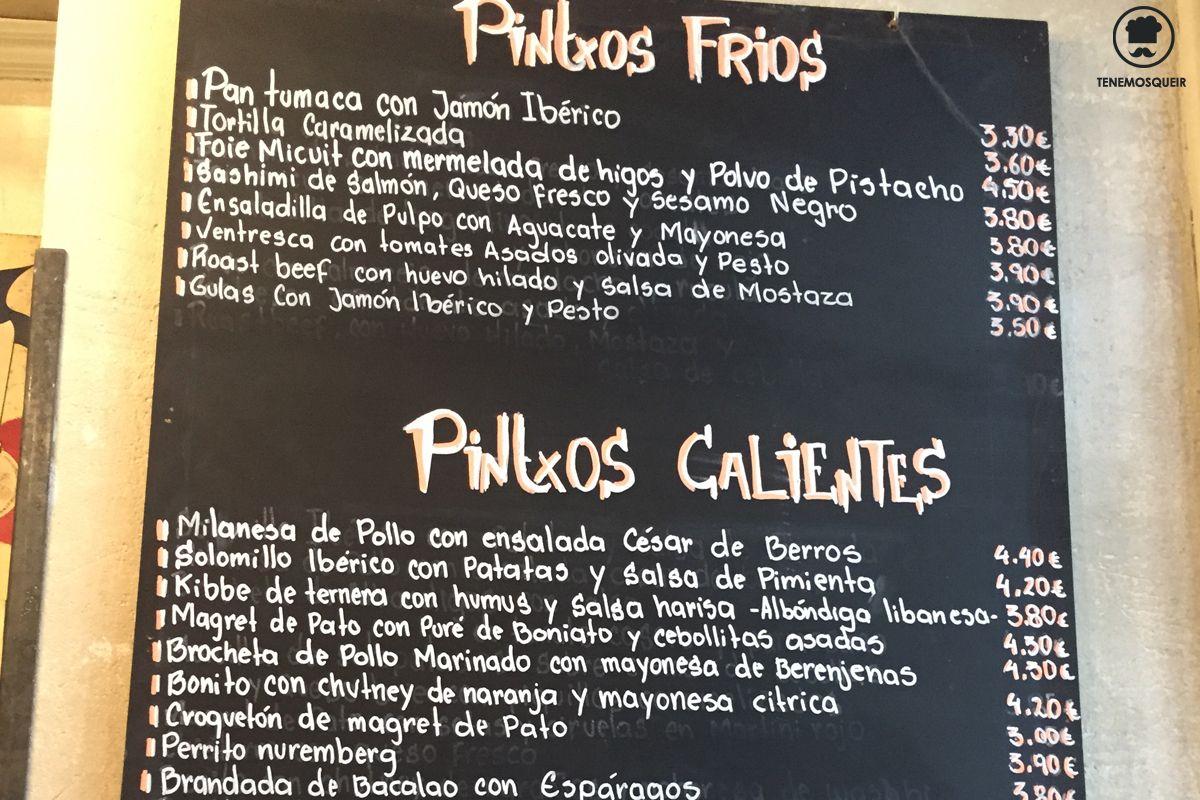 Carta Restaurante Bar de Pinchos Makkila Madrid Tenemosqueir