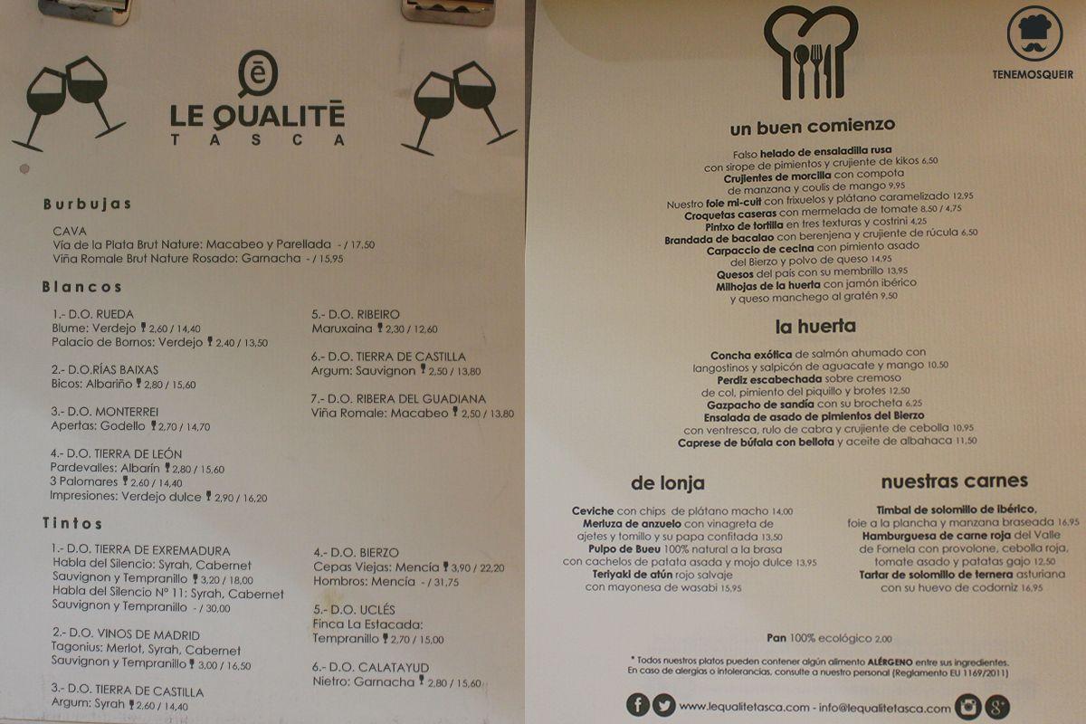 Carta Restaurante Le Qualite Tasca Madrid Tenemosqueir