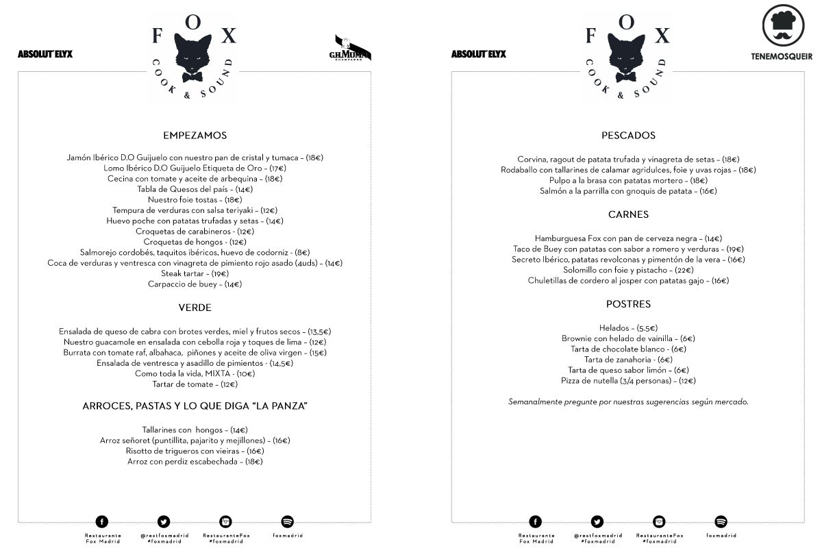 Carta Restaurante Fox Madrid Tenemosqueir