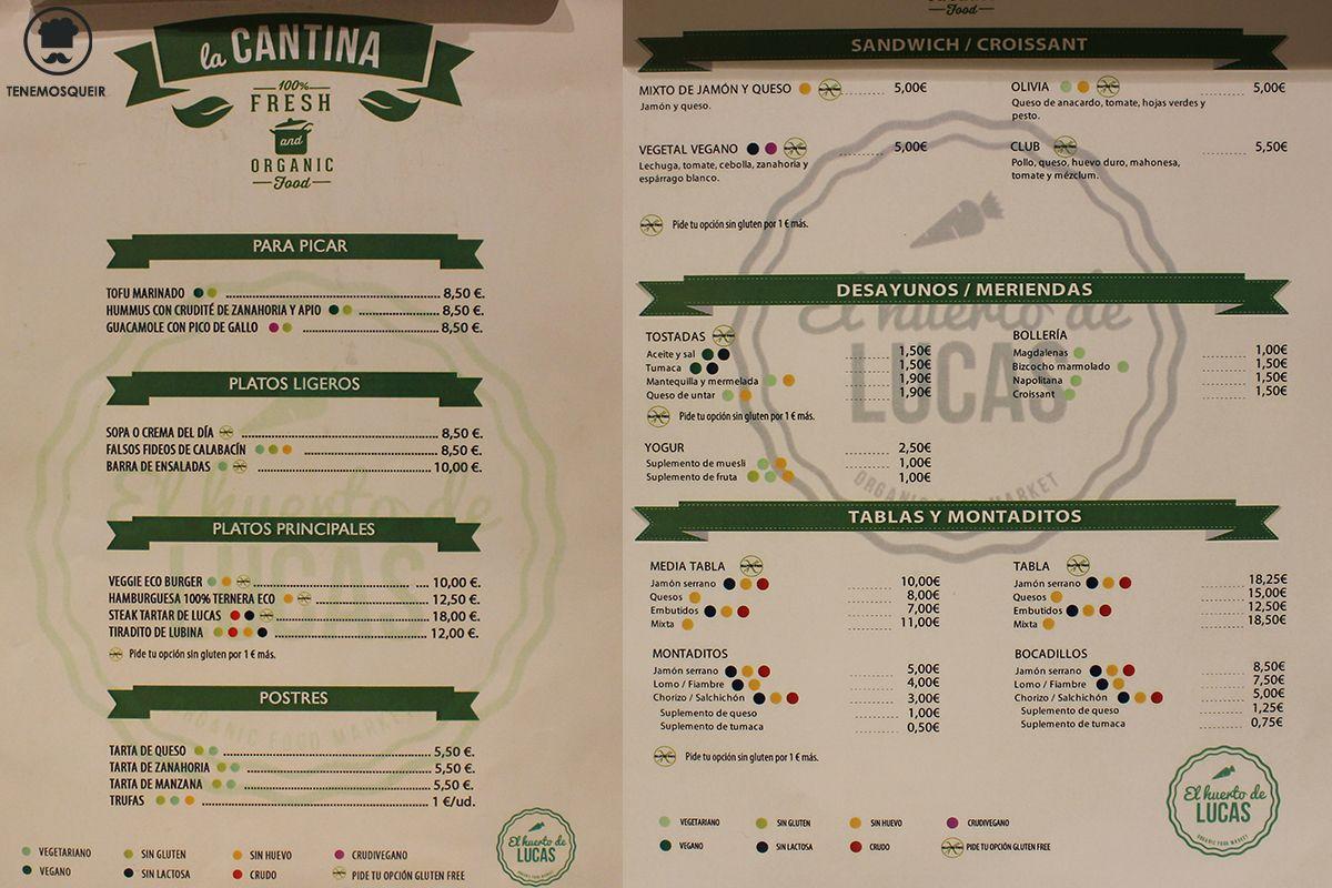 Carta El Huerto de Lucas Comida Ecologica Madrid Tenemosqueir