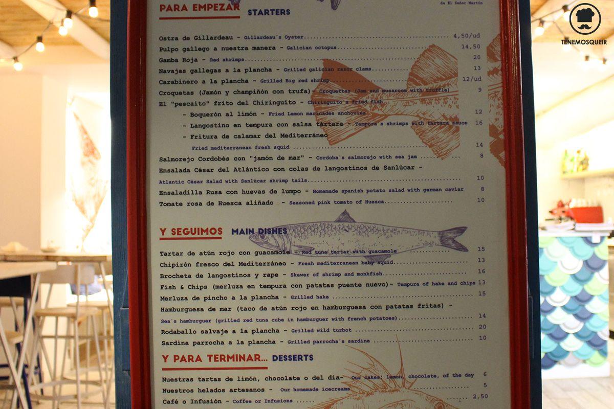 Carta Chiringuito del Senor Martin Tenemosqueir Restaurante Madrid