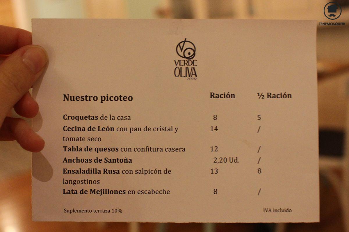 Carta Picoteo Verde Oliva Restaurante Majadahonda Tenemosqueir