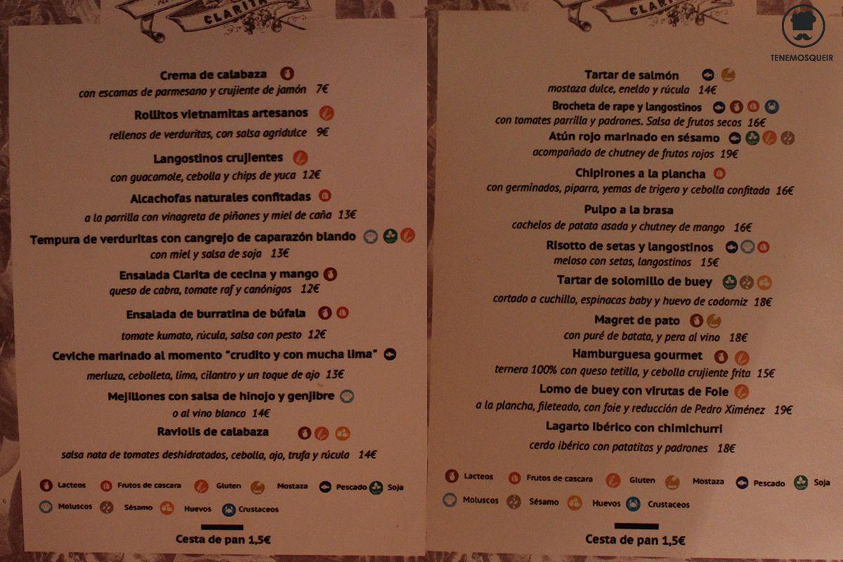 Carta Restaurante Clarita Madrid Tenemosqueir