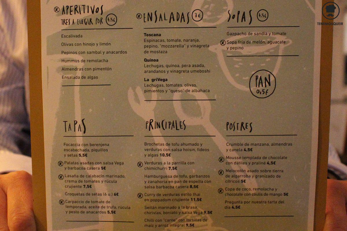 Carta Restaurante Vega Vegano Madrid local