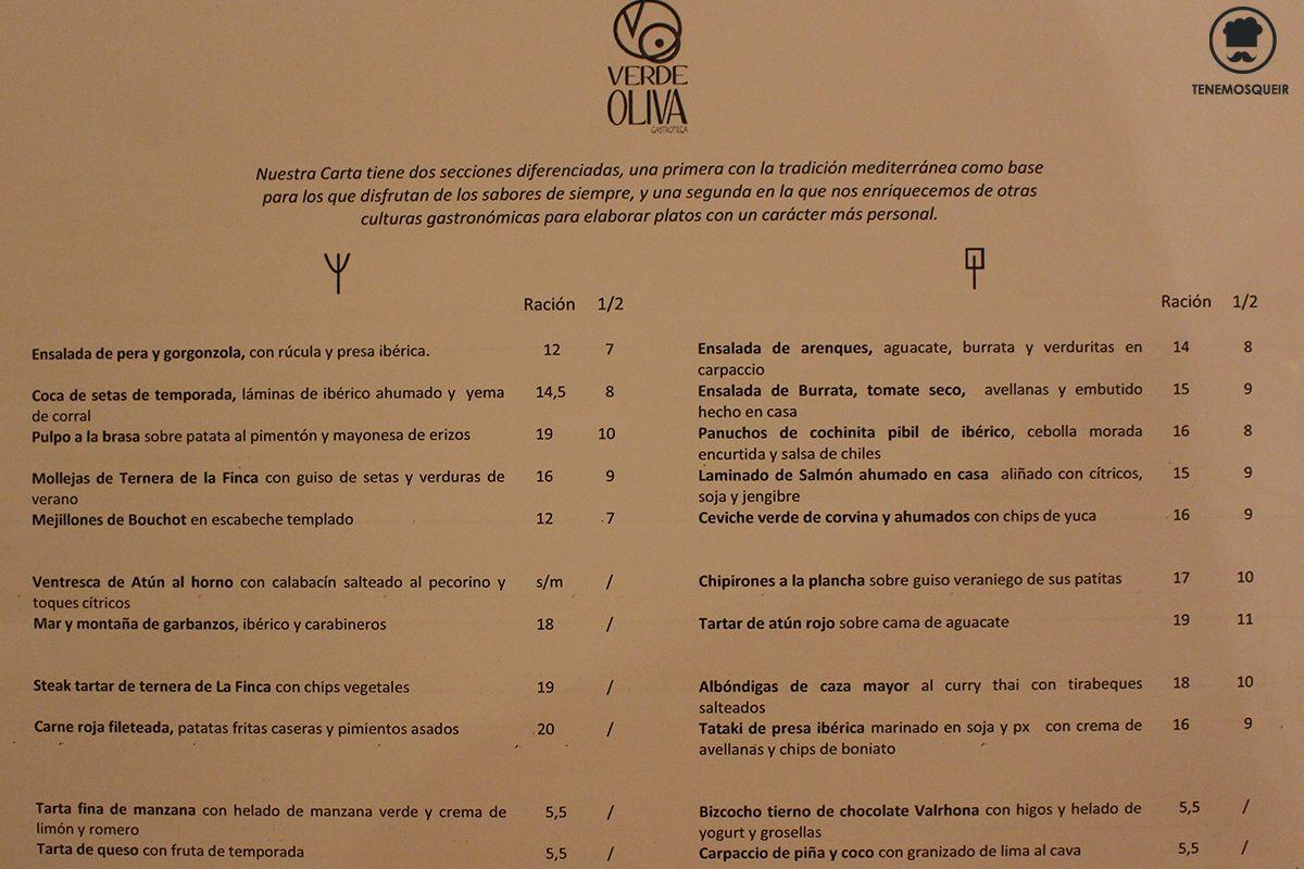 Carta Verde Oliva Restaurante Majadahonda Tenemosqueir