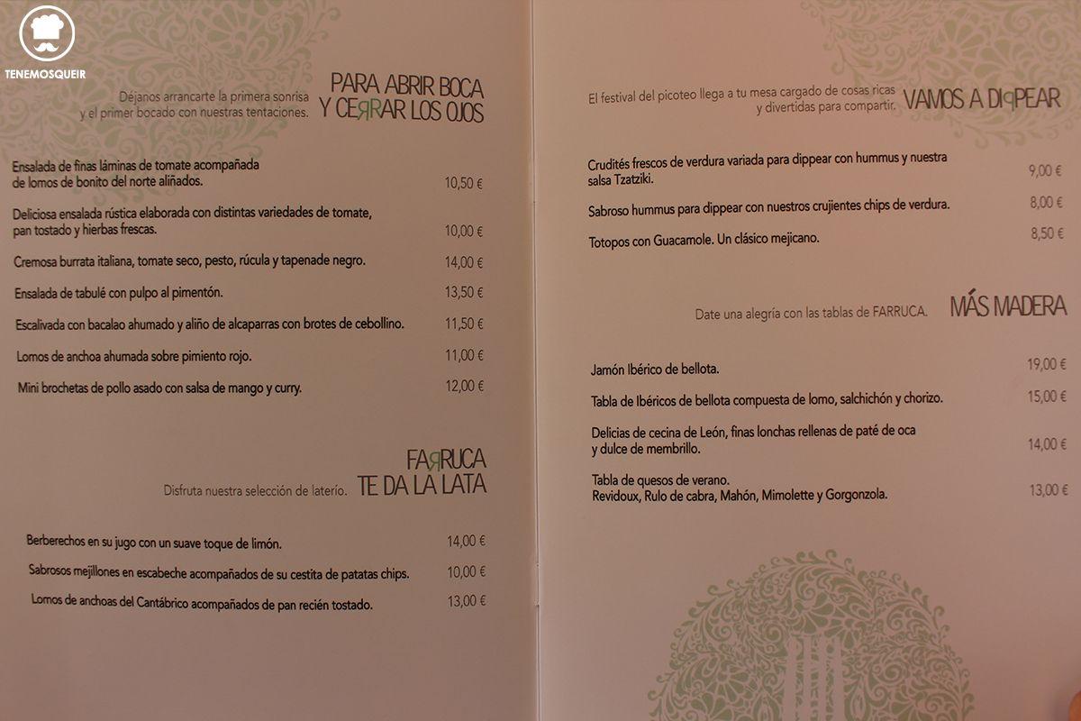 Carta Farruca Bar Terraza Arturo Soria Plaza MAdrid Tenemosqueir