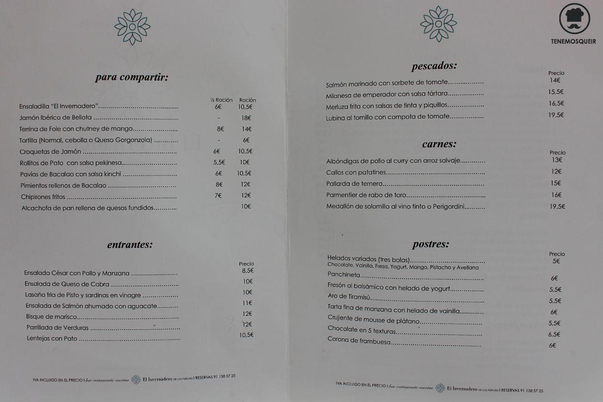 Carta El Invernadero de los Penotes Madrid La Moraleja Tenemsoqueir