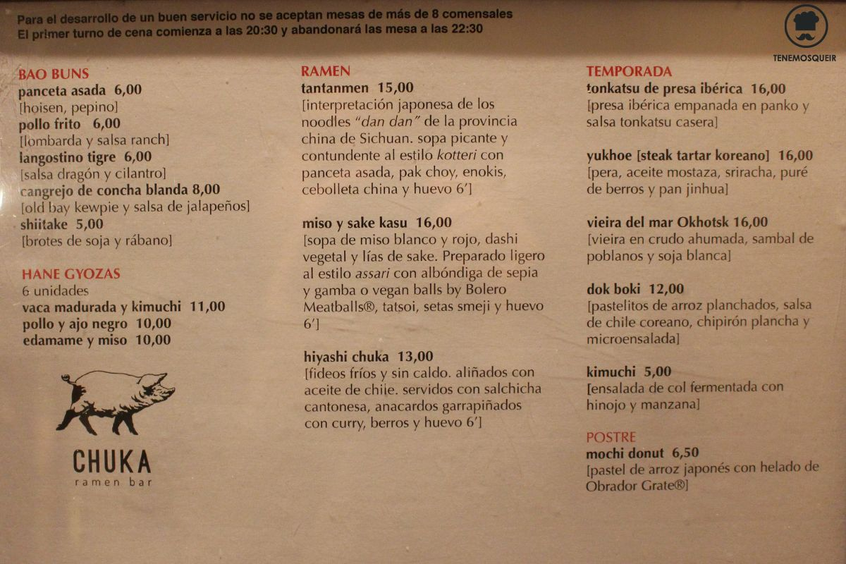Carta Restaurante Chuka Ramen Madrid Tenemosqueir